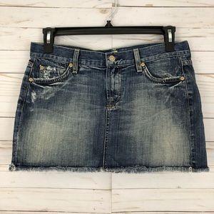 7FAM distressed cutoff mini denim skirt